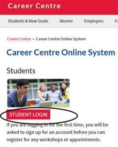 Career Centre Online System screen shot of student login