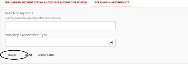Symplicity online system screen shot of search by appointment type