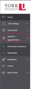 Symplicity online system screen shot of left navigation - Events and Appointments