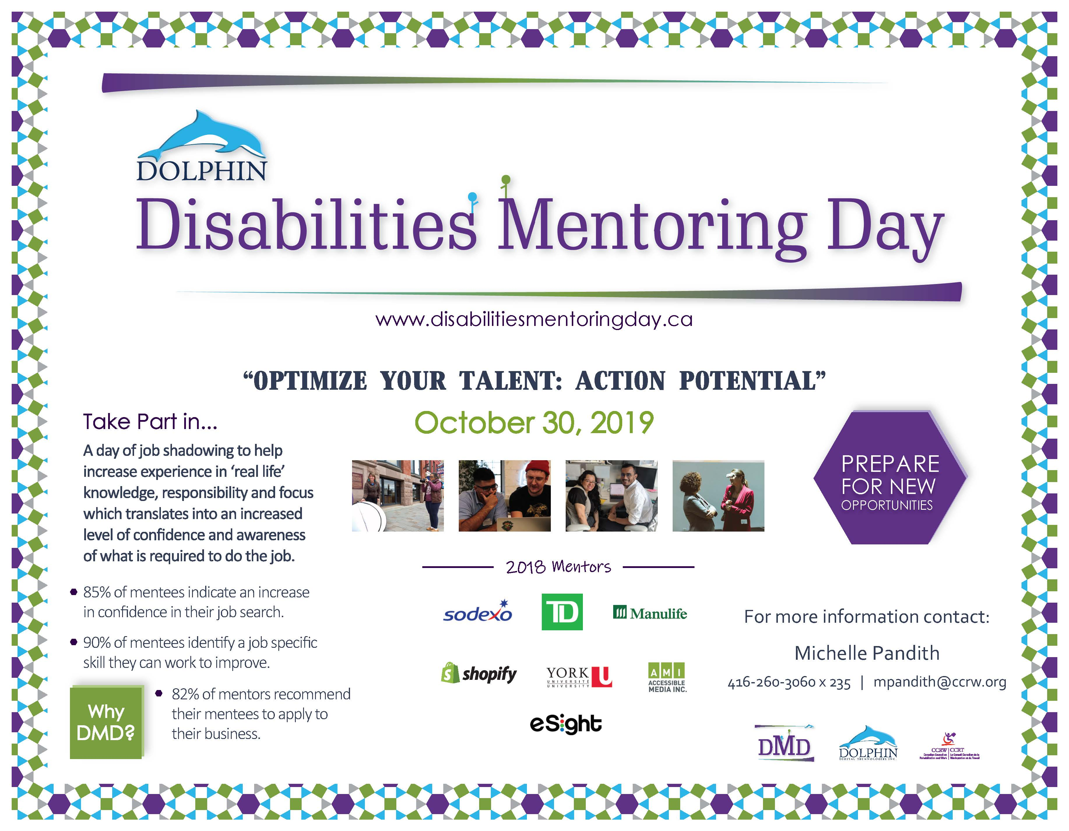 Dolphin Disabilities Mentoring Day Flyer - October 30, 2019