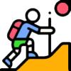Icon shows a man climbing