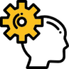 Icon showing a person thinking wheel