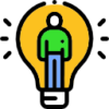 Icon showing a light bulb with a man inside