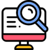 Icon showing magnifying glass on the monitor