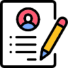Icon showing a pencil and a document