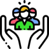 Icon shows a hand holding as a team