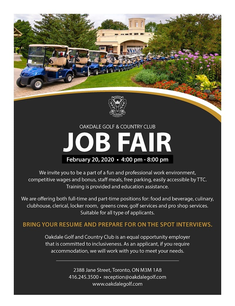 A flyer of the oakdale golf job fair