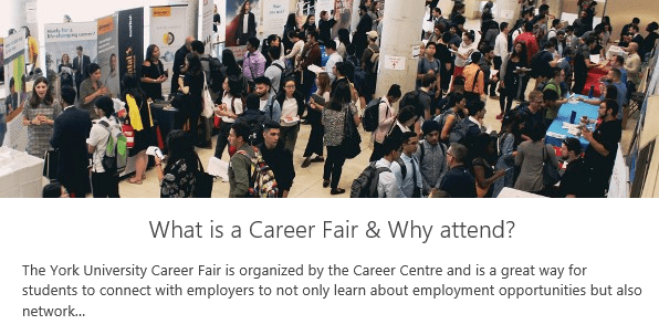 Why attend a carer fair? Group of students and employers in a Fair.