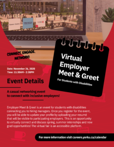 Virtual Employer Meet and Greet for Students with Disabilities @ Virtual Event