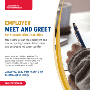 Employer Meet and Greet for Students with Disabilities @ 103 McLaughlin College