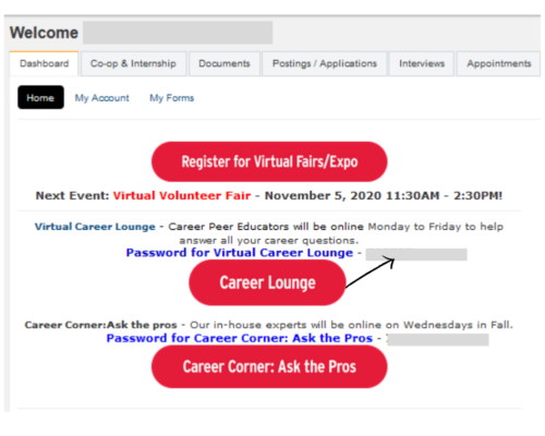 Virtual Career Lounge @ Online Zoom