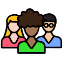 Icon shows group of diverse people